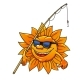 Cartoon Sun in Sunglasses with Fishing Rod