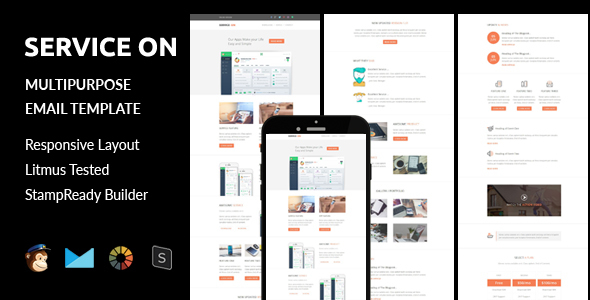 SERVICE ON - Multipurpose Responsive Email Template + Stampready Builder