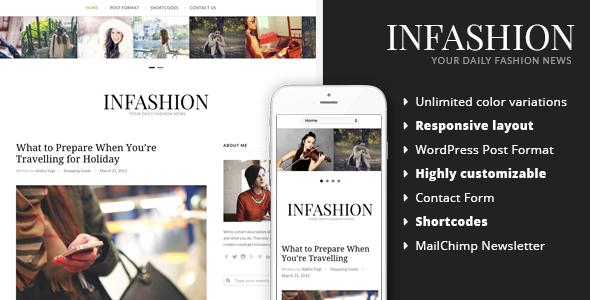 Фото Шаблон Wordpress платный  inFashion - Fashion Blog WordPress Theme — 01 preview.  large preview
