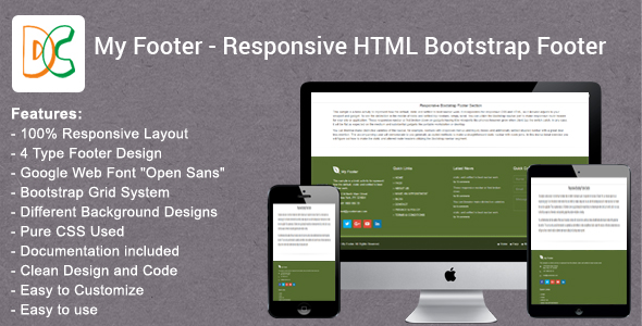 My Footer - Responsive HTML Bootstrap Footer - CodeCanyon Item for Sale