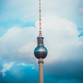 Berlin TV Tower in front of Blue Sky with Clouds