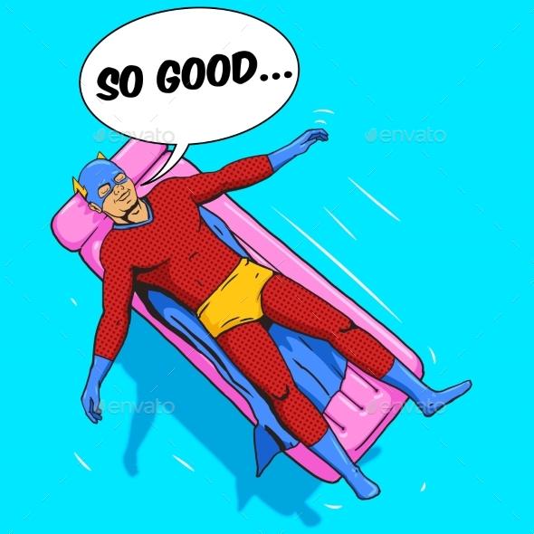 Superhero Lying on Air Mattress Comic