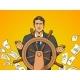 Businessman and Ship Steering Wheel Pop Art