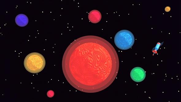 Toon planeettoja ja Satellite - 3D, Object Taustat Motion Graphics