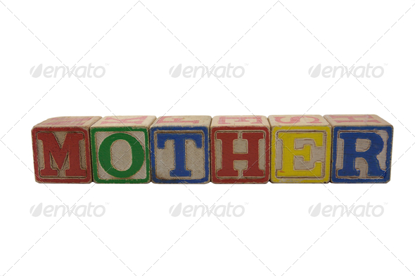 vintage alphabet blocks spelling mother - Stock Photo - Images