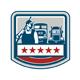 Power Washer Worker Truck Train Crest Retro