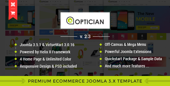 Image of Vina Optician - Premium eCommerce Joomla Template