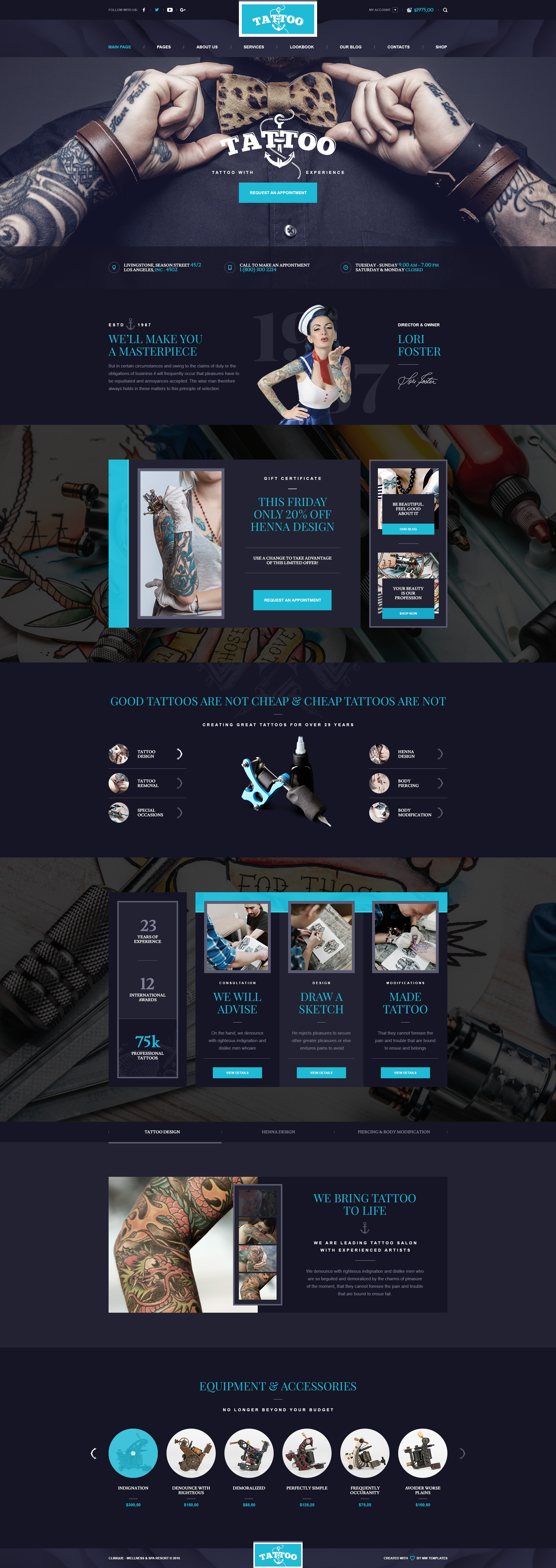 ink arts tattoo salon psd template psd templates