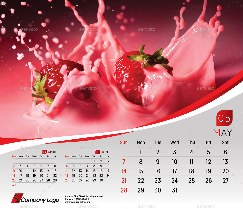 2017 Desk Calendar Template by LaCroix – Sample Indesign Calendar