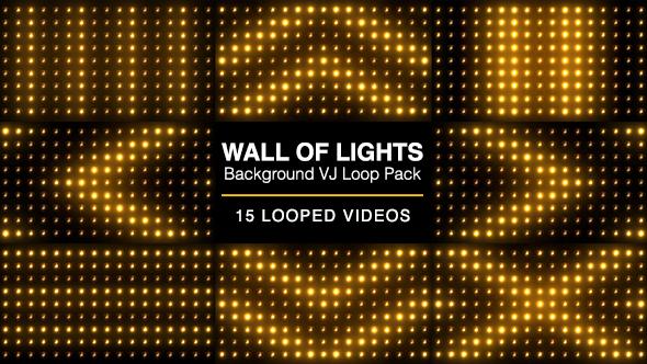 Wall Of Lights Background VJ Loop Pack - Light Taustat Motion Graphics