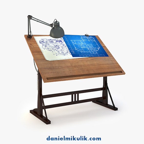 Blueprint Desk with Lamp - 3DOcean Item for Sale