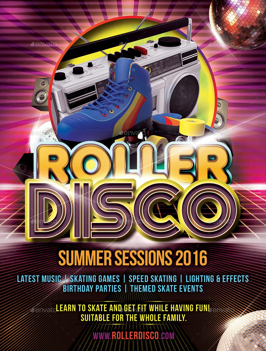 roller disco flyer template by designroom1229