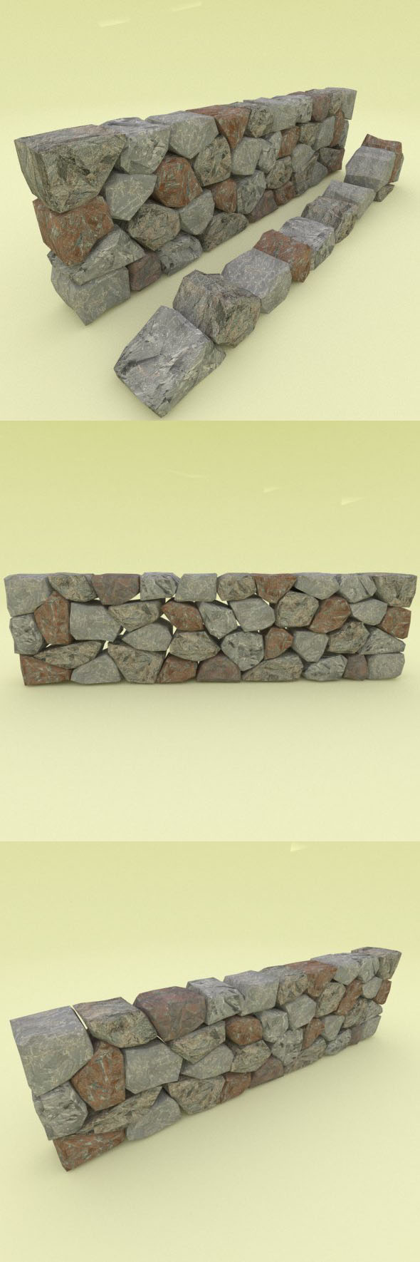 Low Poly Stone Wall Segment - 3DOcean Item for Sale