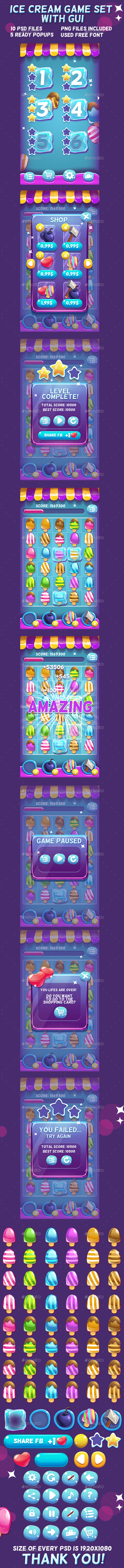 Ice Cream Game Set with UI (Game Kits)