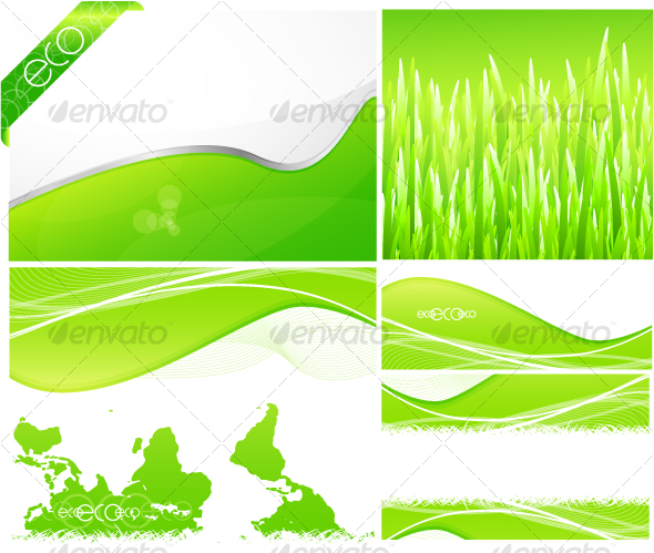GraphicRiver Pack of green backgrounds and designs 64702
