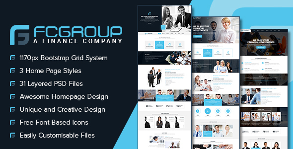 Finance Group - Multi Purpose PSD Template