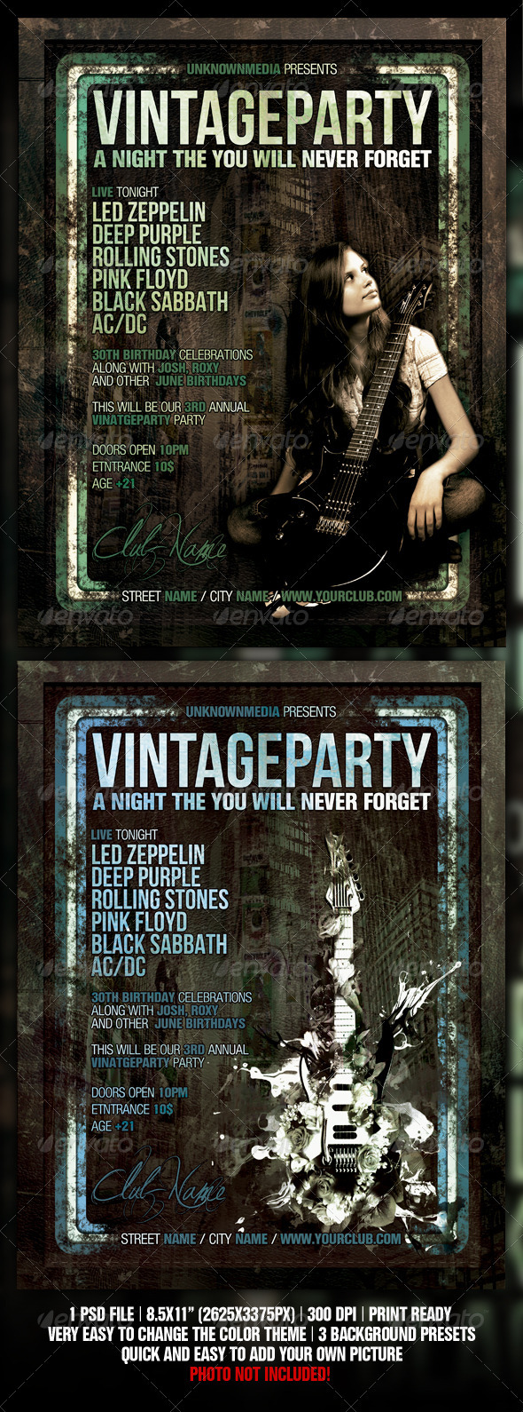 Vintage / Retro Night Club Party / Concert Flyer