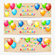 Cards with Birthday Balloons and Confetti on Grunge Background