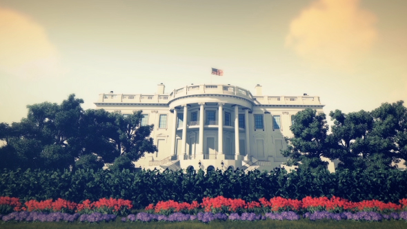 3D Realistic White House - Noon - 3D, Object Taustat Motion Graphics