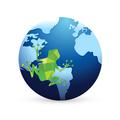 green frog on earth globe illustration design