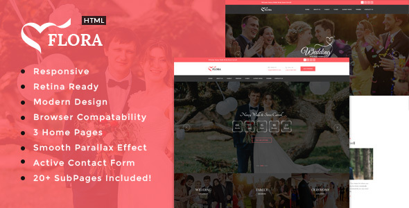 Flora - Responsive HTML Wedding Template