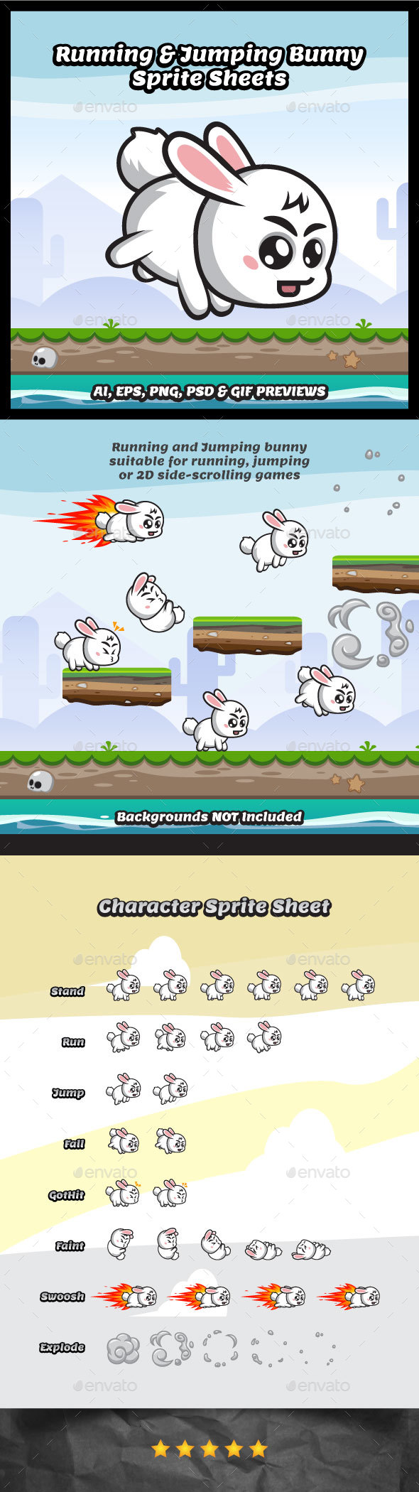 Running and Jumping Bunny Game Character (Sprites)
