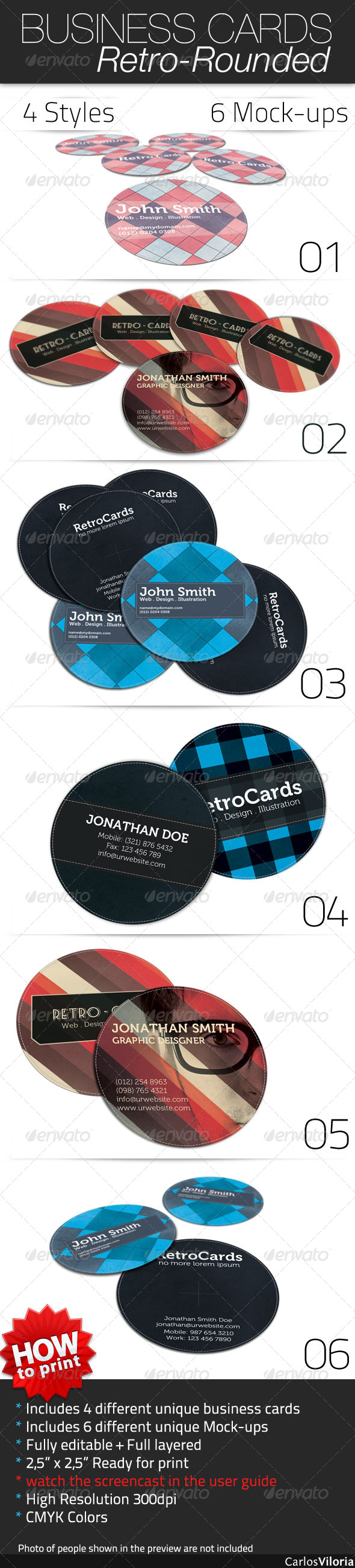 Business Card - Retro Rounded - Retro/Vintage Business Cards