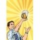 Retro Man and Mug of Beer