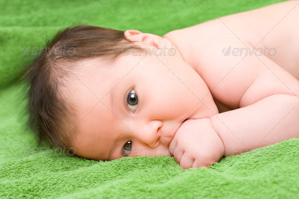 brunette baby - Stock Photo - Images