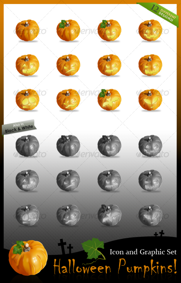 2 Fall Pumpkins, and 10 Carved Halloween Pumpkins! - Objects Illustrations