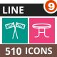 510 Vector Multicolor B/G Line Icons Bundle (Vol-9)