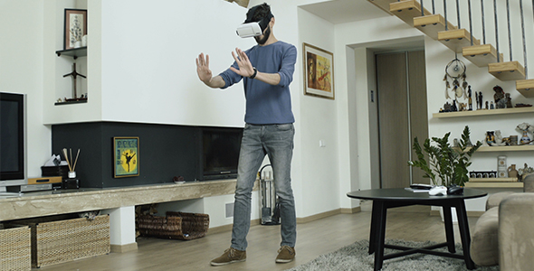 Download Man Exploring Virtual Reality nulled download