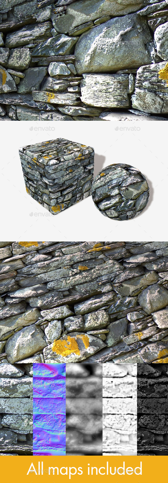 Crumbling Mossy Wall Seamless Texture - 3DOcean Item for Sale