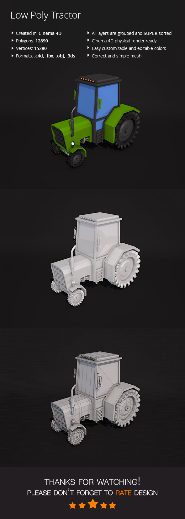 Low Poly Tractor - 3DOcean Item for Sale