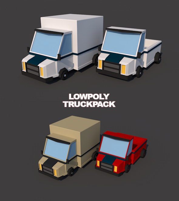 Low poly van and truck combo - 3DOcean Item for Sale