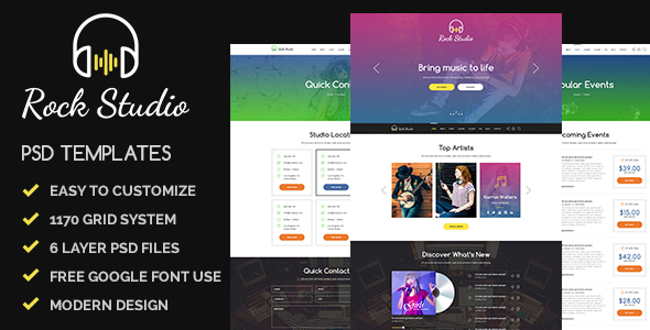Rock Studio - Music, Playback and Events Psd Templates