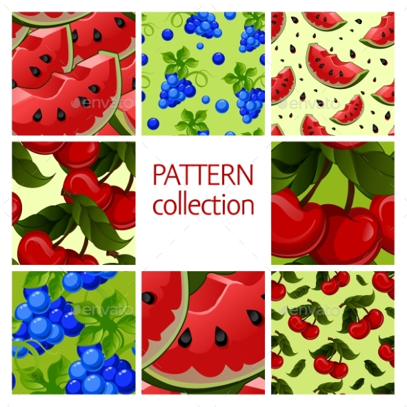 Fruit Patterns Seamless Collection.