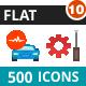 500 Vector Colorful Flat Icons Bundle (Vol-10)