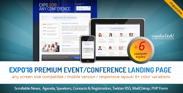 ThemeForest Expo 18 Responsive Event Conference Landing Page 1356398