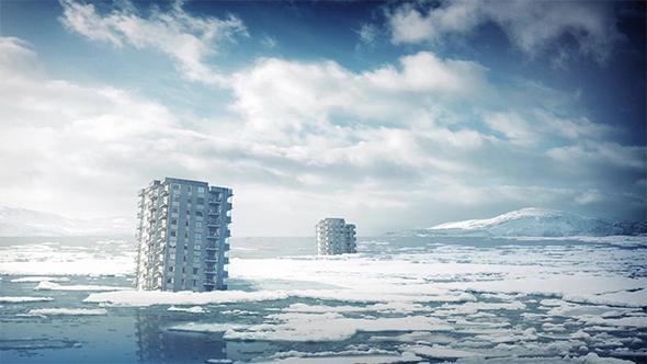 Kaupunkirakennukset jälkeen jäätiköitä Melt - Taustat Motion Graphics