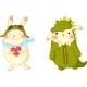 Cute Bunnies In Fancy Dress.