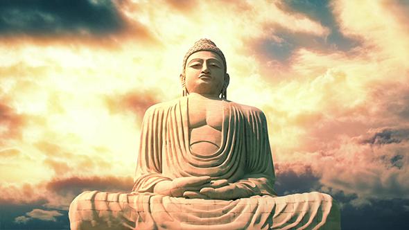 Buddha-patsas ja Sky vilkkaassa Beautiful Colors - Motion Graphics