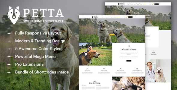 Petta - Responsive Joomla Template for Pet Care Service Shop