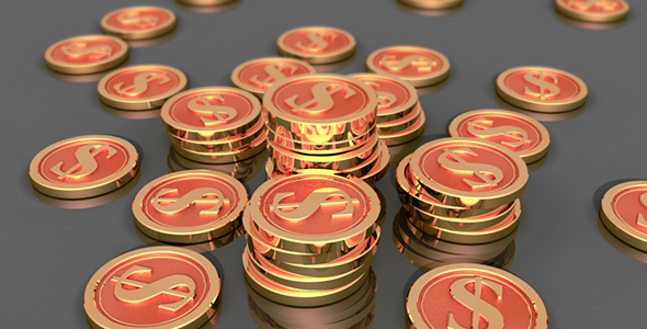 Kolikot kanssa raha Signs - 3D, Object Taustat Motion Graphics