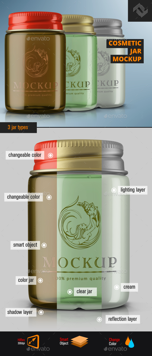 Screw Cap Cosmetic Jar Mockup