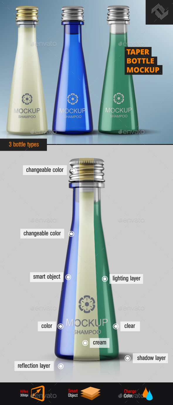 Screw Cap Taper Bottle Mockup