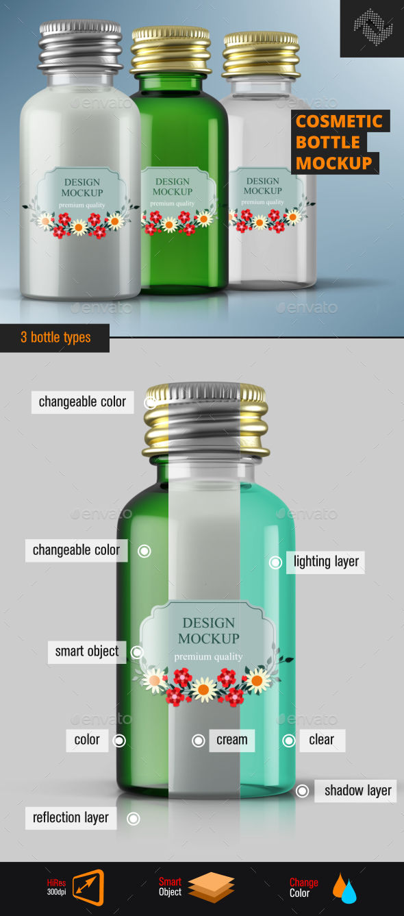 Screw Cap Cosmetic Bottle Mockup