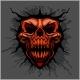 Aggressive Skull for Motocross Helmet