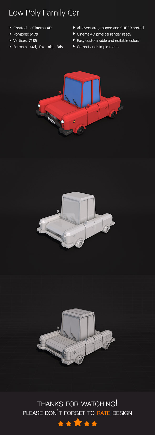 Low Poly Family Car - 3DOcean Item for Sale
