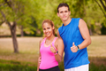 Portrait Young Couple With Thumb Up Doing Sports Training Fitnes